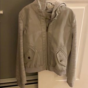 NWOT. Brand new grey pleather and sweater jacket